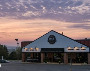 exterior photo of a lancaster county coffee shop at dusk