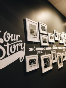 framed photo timeline on the wall of a coffee shop