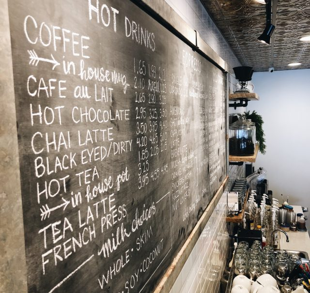 coffee company chalkboard menu