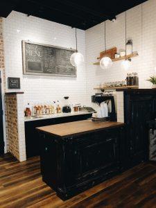 food service counter in a private small event venue