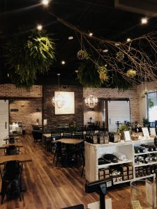 inside of a pa coffee shop with foliage hanging from the ceiling