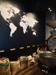 coffee shop counter featuring a world map
