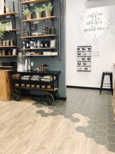 contemporary private event space with serving cart and mug rack
