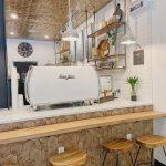 private event space with coffee bar and white espresso machine