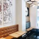 small private event space with booth seatings and wall art
